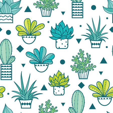 greeen: Vector Blue Green Seamless Repeat Pattern With Growing Succulents and Cacti In Pots. Trendy tropical design for textile, fabric, packaging, backdrops, wallpaper. Illustration