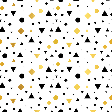 Gold, black and white geometric shapes - seamless pattern. 向量圖像