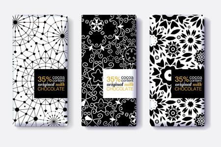 Vector conjunto de diseños de paquete de barra de chocolate con modernos patrones geométricos en blanco y negro. Colección de plantillas de embalaje editable. Ilustración de vector