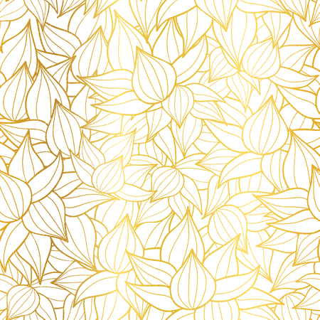 metallic seaweed: Vector golden white striped succulent plant texture drawing seamless pattern background. Great for subtle, botanical, modern backgrounds, fabric, scrapbooking, packaging, invitations.
