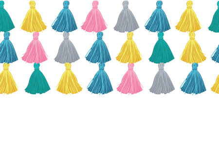 Vector Colorful Decorative Tassels Rows Horizontal Seamless Repeat Border Pattern. Great for handmade cards, invitations, wallpaper, packaging, nursery designs.