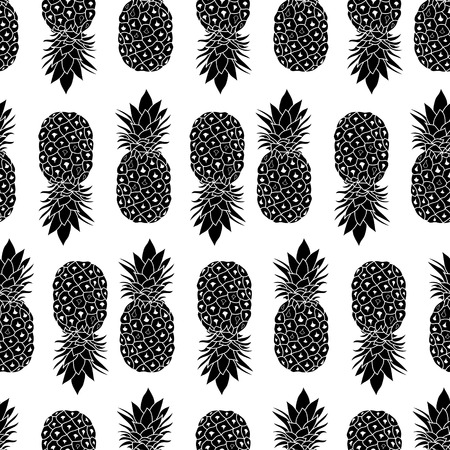 Fresh Black and White Pineapples Geometric Vector Repeat Seamless Pattrern in Classic Colors. Great for fabric, packaging, wallpaper, invitations. Illustration