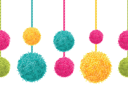 rope folk: Vector Fun Colorful Decorative Hanging Pompoms Horizontal Seamless Repeat Border Pattern. Great for handmade cards, invitations, wallpaper, packaging, nursery designs.
