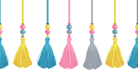 Vector Colorful Decorative Tassels, Beads, And Ropes Horizontal Seamless Repeat Border Pattern. Great for handmade cards, invitations, wallpaper, packaging, nursery designs.