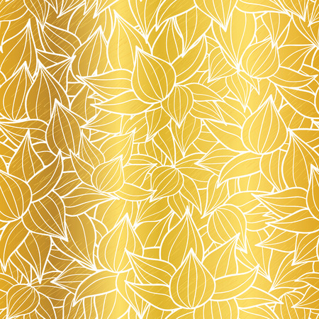 metallic seaweed: Vector gold and white succulent plant texture drawing seamless pattern background. Great for subtle, botanical, modern backgrounds, fabric, scrapbooking, packaging, invitations.