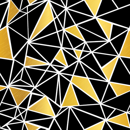 rug texture: Vector Black, White, and Gold Foil Geometric Mosaic Triangles Repeat Seamless Pattern Background. Can Be Used For Fabric, Wallpaper, Stationery, Packaging. Illustration