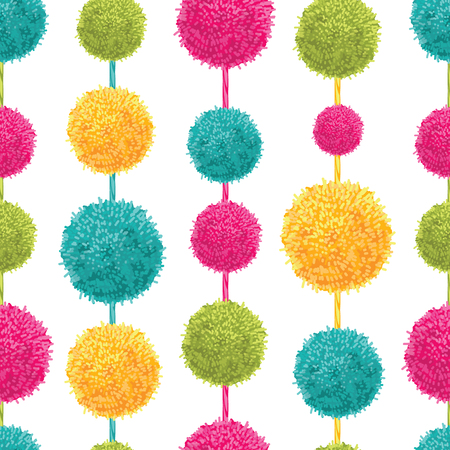 Vector Fun Colorful Decorative Hanging Pompoms Seamless Repeat Pattern. Great for handmade cards, invitations, wallpaper, packaging, nursery designs.