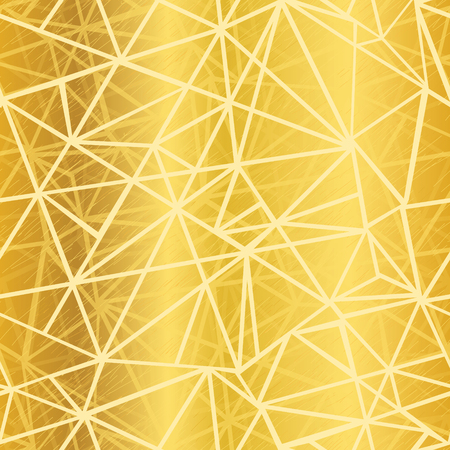 Vector Golden Yellow Glowing Geometric Mosaic Triangles Repeat Seamless Pattern Background. Can Be Used For Fabric, Wallpaper, Stationery, Packaging.