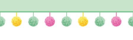 rope folk: Vector Colorful Pastel Baby Room Pompoms Set On Strings Horizontal Seamless Repeat Border Pattern. Great for handmade cards, invitations, wallpaper, packaging, nursery designs. Illustration