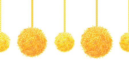 Vector Golden Yellow Decorative Pompoms Big and Small Set With Ropes Horizontal Seamless Repeat Border Pattern. Great for handmade cards, invitations, wallpaper, packaging, nursery designs.