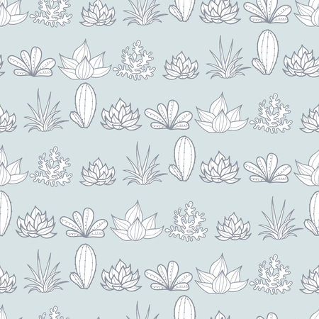 Vector Silver Grey Stripes Seamless Repeat Pattern With Growing Succulents and Cacti In Pots. Trendy tropical design for textile, fabric, packaging, backdrops, wallpaper.
