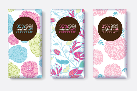 Vector Set Of Chocolate Bar Package Designs With Pink Blue Pastel Floral Patterns. Circle frame. Editable Packaging Template Collection.