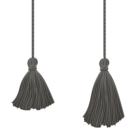 Vector Set of Two Black Hanging Decorative Tassels With Ropes. Great for graduation cards, invitations, hats, mockups, grad party designs. Illustration