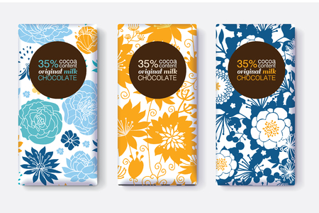 Vector Set Of Chocolate Bar Package Designs With Yellow Blue Pastel Floral Patterns. =