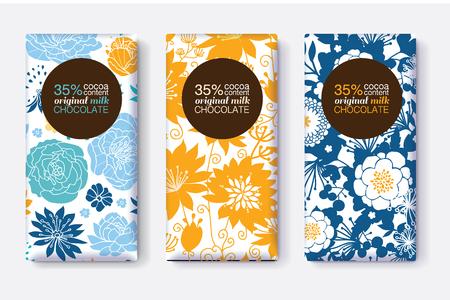 Vector Set Chocolade Bar Pakket Ontwerpen Met Gele Blauwe Pastel Bloemen Patronen. =