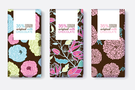 Set Of Chocolate Bar Package Designs With Blue, Pink, and Brown Floral Patterns. Rectangle frame. Editable Packaging Template Collection. Illustration