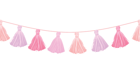 Vector Baby Girl Pink Hanging Decorative Tassels With Ropes Horizontal Seamless Repeat Border Pattern. Great for handmade cards, invitations, wallpaper, packaging, nursery designs.