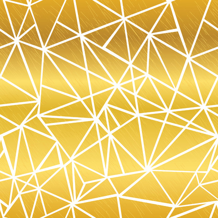 Vector Golden White Glowing Geometric Mosaic Triangles Repeat Seamless Pattern Background. Can Be Used For Fabric, Wallpaper, Stationery, Packaging. Illustration