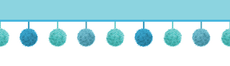 Vector Baby Boy Blue Decorative Pom Poms With Ropes Horizontal Seamless Repeat Border Pattern. Great for nursery room.