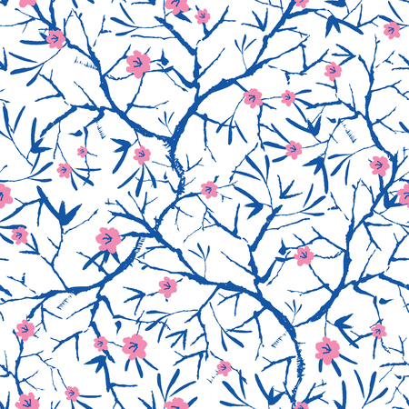 Vector navy blue, pink, and white blooming sakura bracnhes painted texture. Seamless repeat pattern background. Great for wallpaper, cards, fabric, wrapping paper, stationery projects. 向量圖像