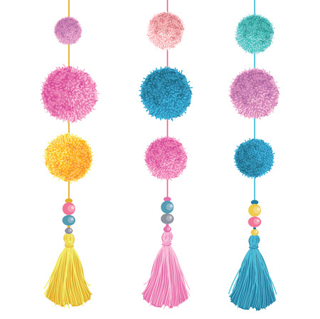 Vector Happy Colorful Birthday Party Pom Poms, Beads, and Tassels Set Of Elements. Great for handmade cards, invitations, nursery designs.