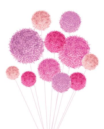 Vektor Pom Poms Baby Mädchen Rosa Dekorative Mit Seilen Horizontale ...