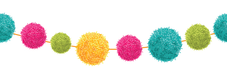Vector Vibrant Happy Birthday Party Pom Poms Set On A String Horizontal Seamless Repeat Border Pattern. Great for handmade cards, invitations, wallpaper, packaging, nursery designs.