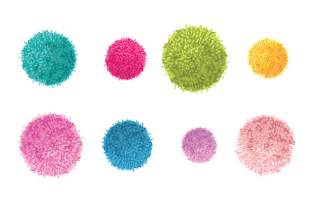 Vector Set of 8 Colorful Pom Poms Decorative Elements. Great for nursery room, handmade cards, invitations, baby designs.