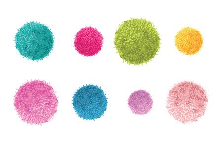 Vector Set van 8 kleurrijke Pom Poms decoratieve elementen. Geweldig voor kinderkamer, handgemaakte kaarten, uitnodigingen, babyontwerpen.