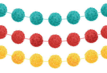 pom: Vector Set of 3 Cute Birthday Party Pom Poms On Strings Horizontal Seamless Repeat Border Pattern. Great for handmade cards, invitations, wallpaper, packaging, nursery designs.
