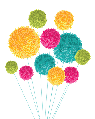 Colorful pom poms bouquet decorative element, great for nursery room, handmade cards, invitations, baby designs. Illustration