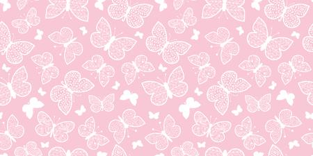 ベクトル パステル ピンクの蝶は、シームレスなパターンの背景を繰り返します。ファブリック、壁紙、文具、包装に使用できます。