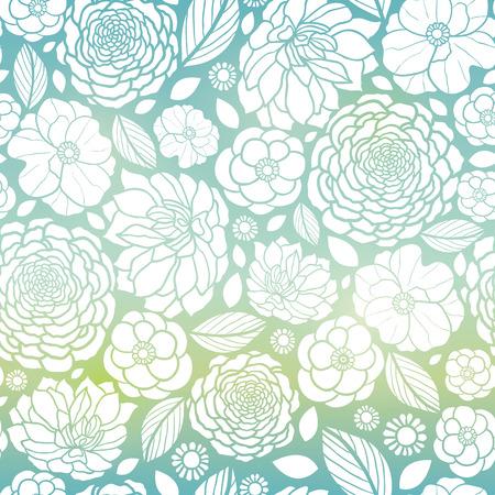 Vector Blue and White Mosaic Gradient Flowers Conception de fond de motifs répétitifs sans couture. Idéal pour les invitations élégantes de mariage, anniversaire, emballage, tissu, papier peint. Banque d'images - 77763506