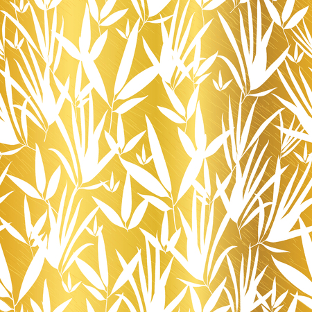 floor plant: Vector Gold and White Bamboo Leaves Seamless Pattern Background. Great for tropical vacation fabric, cards, wedding invitations, wallpaper.