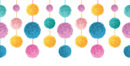Vector Happy Colorful Birthday Party Pom Poms On Strings Set Horizontal Seamless Repeat Border Pattern. Great for handmade cards, invitations, wallpaper, packaging, nursery designs. Illustration