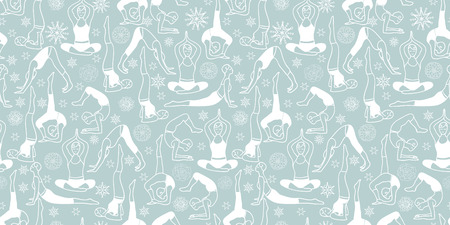 Vector Silver Grey and White Yoga Poses Seamless Repeat Pattern Background Design. Great for healthy lifestyle and workout inspired products, fabric, packaging, wallaper projects. Vettoriali