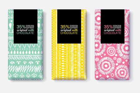 Vector Set Of Chocolate Bar Package Designs With Modern Vibrant Tribal Ikat Patterns. Rectangle frame. Editable Packaging Template Collection. Illustration