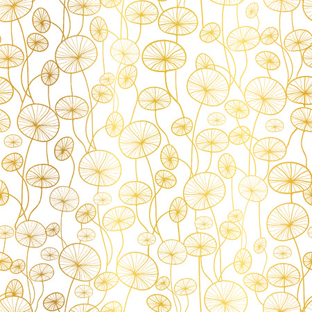 Vector golden white underwater seaweed plant texture drawing seamless pattern background. Great for subtle, botanical, modern backgrounds, fabric, scrapbooking, packaging, invitations.