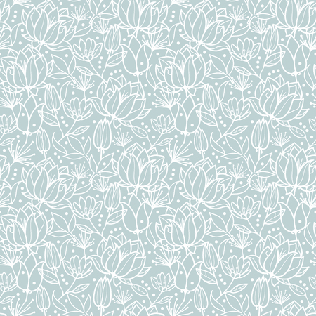 Vector silver grey spring flowers texture repeat pattern design.
