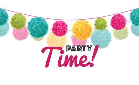 rope folk: Vector Colorful Happy Birthday Party Time Text Pom Poms Set On Two Strings Horizontal Repeat Border Pattern.