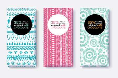 Vector Set Of Chocolate Bar Package Designs With Modern Vibrant Tribal Ikat Patterns. Illustration