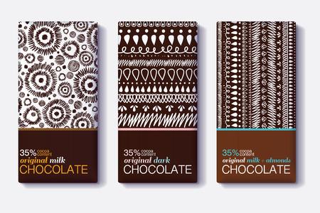 Vector set chocolade bar pakketontwerpen met moderne bruin tribale ikat patronen.