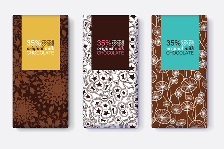 Vector Set Of Chocolate Bar Package Designs With Modern Brown Floral Patterns. Pastel Rectangle Frames. Editable Packaging Template Collection. Illustration