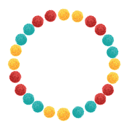 Vector Colorful Vibrant Birthday Party Pom Poms Circle Set and Round Frame.