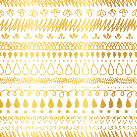 Vector Gold and White Decorative Ikat Stripes Abstract Seamless Repeat Pattern Background.