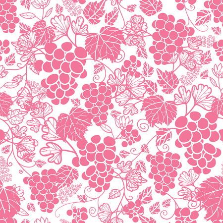 Vector Pink and White Grapevines Repeat Seamless Pattern Background.