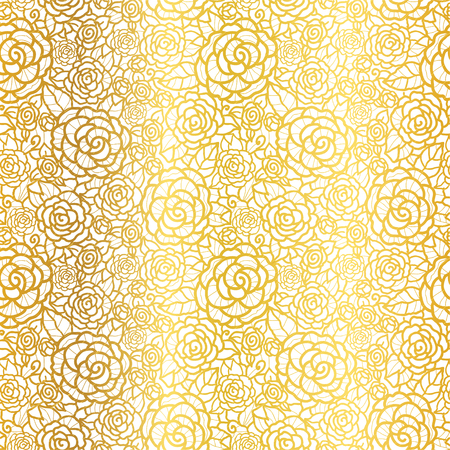 Vector golden lace roses seamless repeat pattern background.