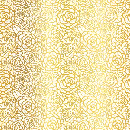 Vector gouden kant rozen naadloze herhaling patroon achtergrond. Stock Illustratie