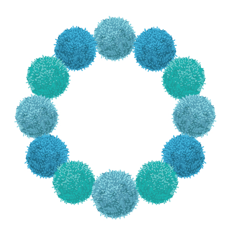 Vector Chunky Blue Baby Boy Birthday Party Pom Poms Circle Set and Round Frame.