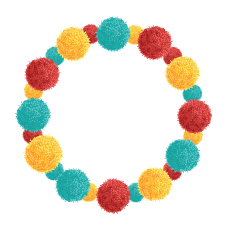 Vector Colorful Vibrant Wreath Birthday Party Pom Poms Circle Set and Round Frame.